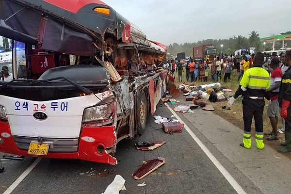 11 persons dead, over 80 injured as cargo truck crash two buses at Kyekyewere
