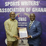 45th MTN SWAG Awards: Mr. Richard Akpokavie receives SWAG meritorious award after his 1981 Hockey stick