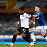 Thomas Asante plays for Salford City in Carabao Cup defeat to Everton
