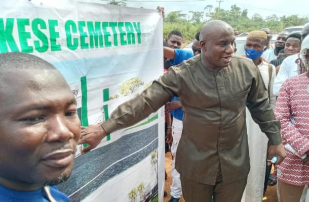 Akufo-Addo's bodyguard begins construction of Asamankese, Asuokaw cemetery walls