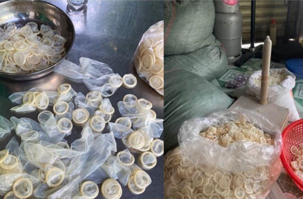 PHOTOS: Police seize 324,000 used condoms being washed and resold in a raid