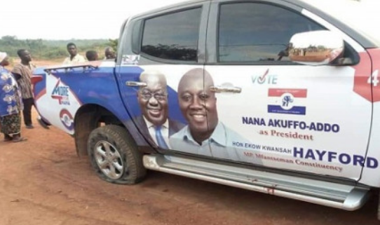 Photos of murdered Mfantseman MP's car from crime scene