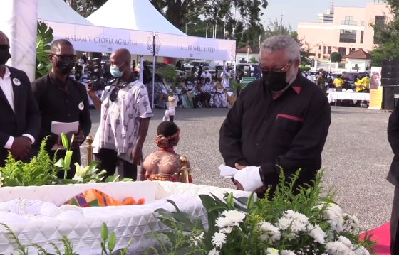 VIDEO: Former President Rawlings 'tearfully' pays last respect to late mother