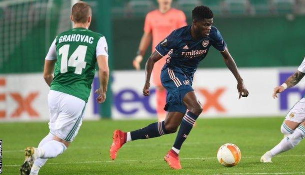 Thomas Partey dazzles on his Arsenal debut in Europa League win over Rapid Vienna