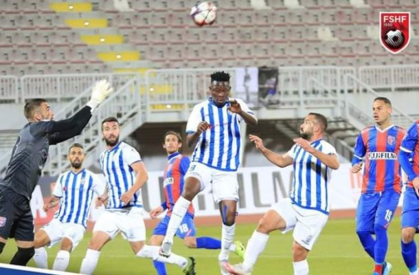 Derrick Sassraku scores on his debut for Tirana in Albanian League