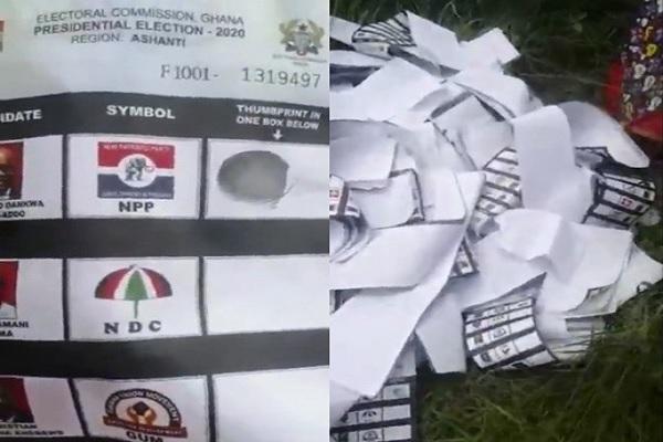 VIDEO: Already thum-printed ballot papers for Nana Addo thrown away