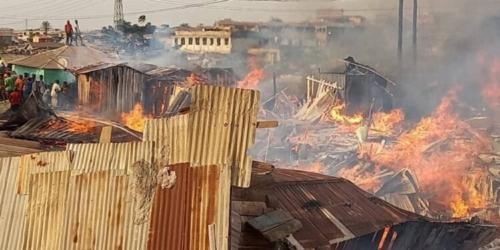 Fire sweeps through wooden structures at Dagombaline