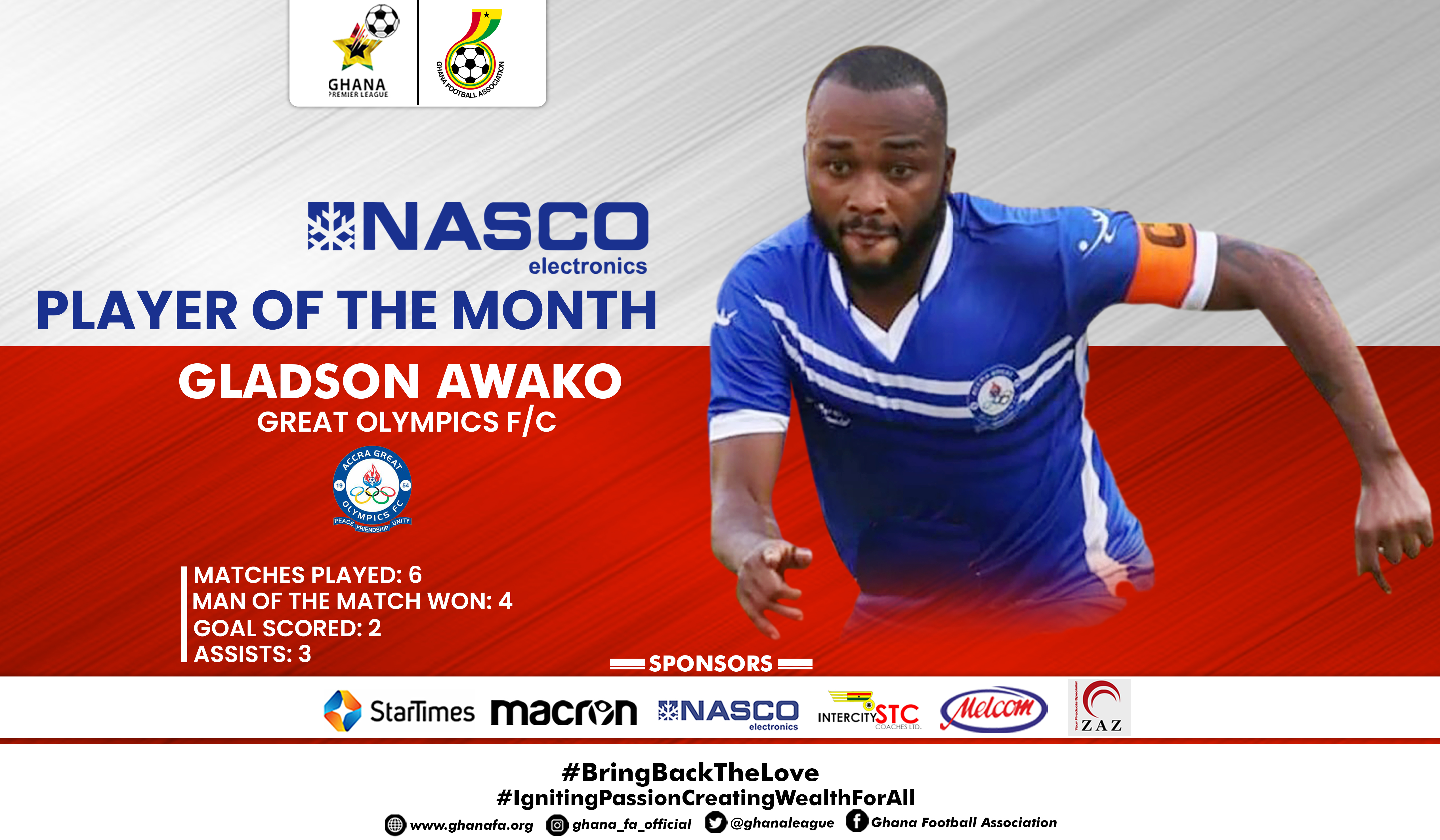 Gladson Awako wins GPL NASCO player of the month December
