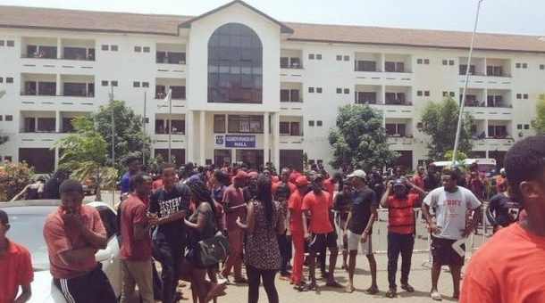 University of Ghana students embark on wild protest