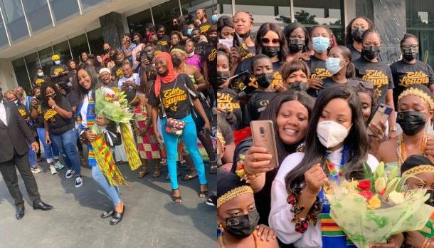 PHOTOS: Ghanaians wake up at 3am to welcome disqualified BB Naija housemate Erica