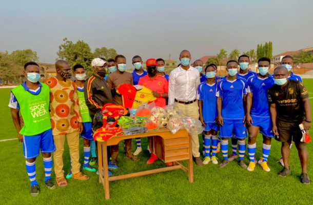 Cheetah FC president presents football equipment to GIHOC Football Club