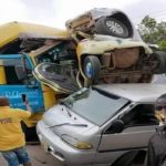 15 pupils escape unhurt as trailer crashes school bus, other cars at Nsawam