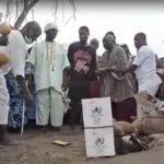 PHOTOS: Gomoa chiefs storm Apam sea; sacrifice cow, sheep, fowls and schnapps to angry gods