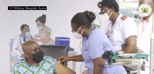 PHOTOS: Akufo-Addo takes first jab of COVID-19 vaccine