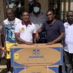 Legendary sportsman, Vincent Akutsah donates air conditioner to Suhum NPP