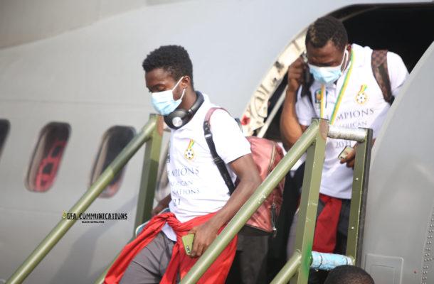 PHOTOS: Triumphant Black Satellites squad touch down in Ghana