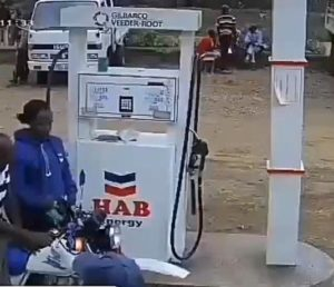 VIDEO: 'Okada' catches fire at fuel station while being served with engine on