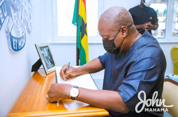 PHOTOS: Ex-president Mahama signs Prince Philip's Book of Condolence