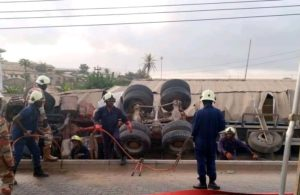PHOTOS: One killed as cement truck overturns in Inchaban