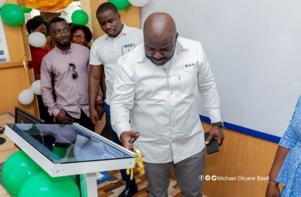 Michael Okyere Baafi donates computers to Riis Presby Model Schools in Koforidua