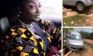 PHOTOS: Okay FM's Abena Moet survives car crash two weeks after her wedding