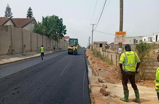 PHOTOS: Philanthropist Atta Frimpong constructs ultra-modern asphalt road in Accra