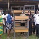 Suhum MCE, Margaret Darko presents dual desks to Education Directorate
