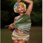 Social media reacts after Mzbel covers her nudity with palm leaves
