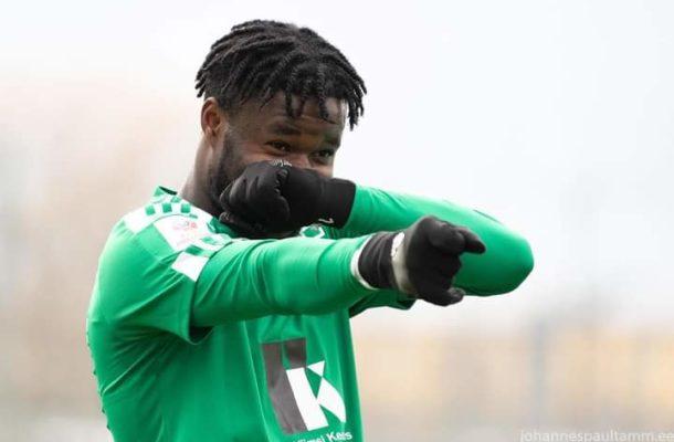 Ernest Agyiri scores for his Estonian side Levadia