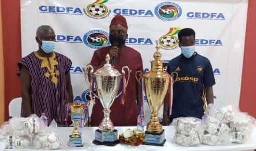 Juvenile Football: Cheetah FC Boss donates to Gomoa East District Football Association.