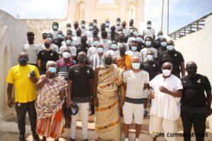 PHOTOS: Black Stars pay courtesy call on Oguamanhene ahead of Ivory Coast friendly