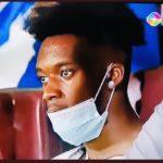 Chelsea winger Callum Hudson-Odoi watches Hearts vs Olympics match at Accra Sports Stadium