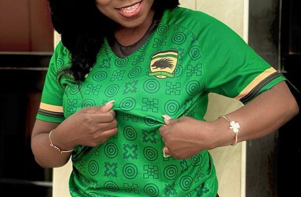 PHOTO: Afia Pokua Vim lady rocks Kotoko's away jersey ahead of Ashgold clash