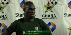 VIDEO: Elmina Sharks' James Bissue scores Patrick Schick-like goal from center circle against Legon Cities