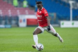 Yaw Yeboah scores for Wisla Krakow in opening day win over Zaglebie Lubin