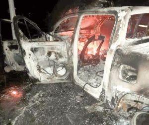 Angry youth set Customs car ablaze