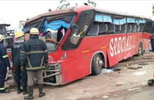 PHOTOS: Two dead, 23 injured as bus crashes into shops and somersaults