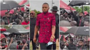 VIDEO: Luxury cars, breaking COVID protocols as popular pastors storm the funeral of Obinim's father