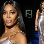 Naomi Campbell rules the runway in a glittering pink gown