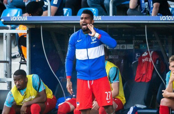 KP Boateng seen on the touchline coaching in Hertha Berlin's win over Bochum