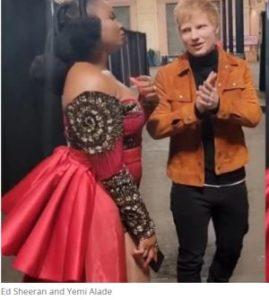 Yemi Alade in shock as Ed Sheeran chooses Ghana jollof over Nigerian jollof