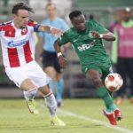 Bernard Tekpetey plays for Ludogorets Razgrad in Europa League defeat
